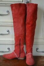 Free People Red Suede Knee Boots - Size 6
