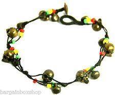 Skull Bell Unisex Rasta Bead Ankle Bracelet Foot Anklet Hippy Boho Handmade