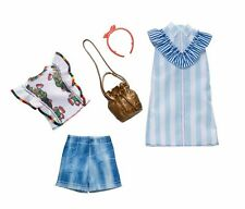 Barbie Clothing 2 Fashions Pack Pinstripes Dress & Floral Top Casual Outfit