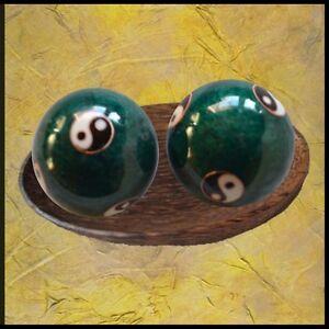 Qi Gong Kugeln YIN YANG GRÜN Klangkugeln Massage Meditation