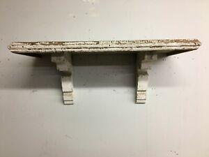 """Antique Wood Corbel Wall Shelf Chippy  White 30"""" Old Shabby Vtg Chic 175-19B"""