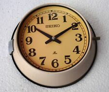 Vintage Beige Slave Maritime Wall Clock Nautical Ship Seiko Quartz Made in Japan