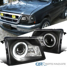 For Ford 98-00 Ranger Pickup Projector Headlights Head Lamps Black w/ Halo Rim