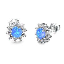 Popular Cute Silver Round Cut Blue Fire imitation Opal Stud Earrings Wedding