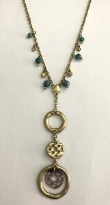 Lia Sophia Gold Tone Chain Circle Disc Hanging Pendant Necklace w/ Blue Beads