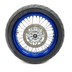 """07-20 Suzuki DRZ400SM DRZ400 17"""" Blue Rear Wheel Rim Hub Tire 17x4.50 1Kmi [BJ]"""