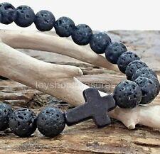 Aromatherapy Essential Oil Lava Bracelet  Onyx Agate Cross Gemstone Men Women