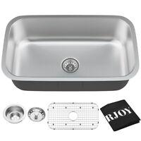 31'' Undermount 304 Stainless Steel Single Bowl Kitchen Sink Basin w/Accessories
