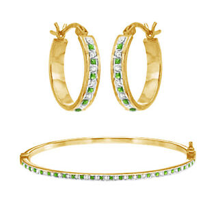 18K Yellow Gold Over Diamond & Peridot Fascination Hoop Earring & Bangle Set