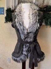 John Fashion S Sweater Vest Taupe/Multi Wool Blend Fur Lace Trim Anthropologie