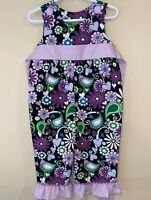 Stellybelly Girls One Piece Purple and Brown Floral Flared Cuffs Size 12 Months