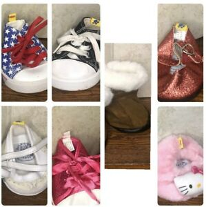 Lot Of 7 Pairs Shoes Build A Bear: Uggs Mary Janes Sketcher Converse Hello Kitty