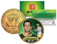 AARON RODGERS Green Bay Packers 24K GOLD JFK KENNEDY HALF DOLLAR COIN *Licensed*