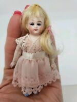 "Antique 3 3/4"" Bisque French Market  Mignonette Doll All Original Glass Eyes"