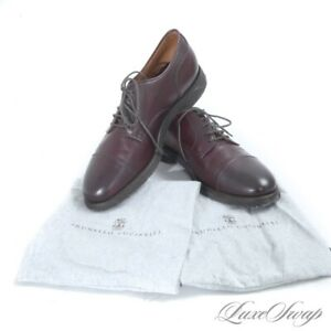 #1 MENSWEAR Brunello Cucinelli Burgundy Crepe Sole Leather Soft Derby Shoes 42