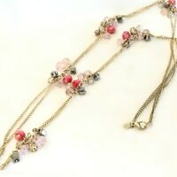 "LOFT 36"" Long Gold Tone Bead Cluster Fashion Necklace"
