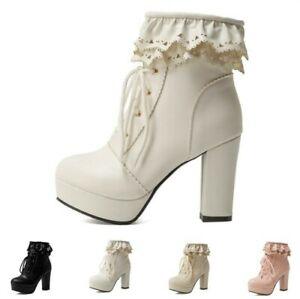 5 Colors Women's Lolita Cosplay Block High Heel Platform Round Toe Ankle Boots D