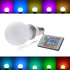B22 3W 16 Color Changing RGB LED Light Bayonet Bulb Remote Control Globe Lamp PA