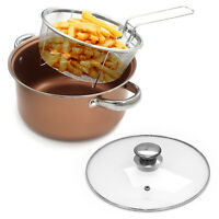 Stove Top Chip Pan Deep Fat Fry 4-in-1 Fryer Stew Frying Basket Glass Lid Bake