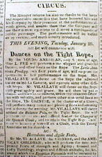 1824 newspaper w EARLY CIRCUS AD with a TIGHT ROPE WALKING PERFORMANCE ACT