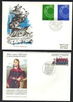 POLAND 1970-80's COLL ON 18 FDC's CVRS & PC UPU, ART, RELIGION ALL COLOR CACHETS