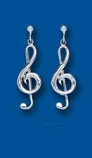 Silver Drops Dangle Treble Clef Music Note Sterling Silver Plain EARRINGS Ladies
