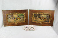 PAIR antique 19thc French oil panel painting chicken rooster farm louis XVI