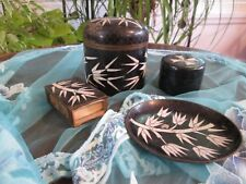Four Piece Set CHINESE CLOISONNE Black Enamel Plate Humidor Jar Boxes