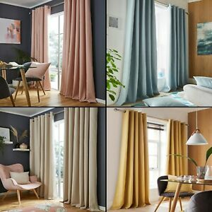 Blackout Thermal Lined Pair Of Ring Top Eyelet Modern Curtains Linen Look Effect