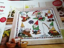 CROSS STITCH CHART GARDEN GNOME SAMPLER CHART ONLY GNOMES & PET CAT CHARTS
