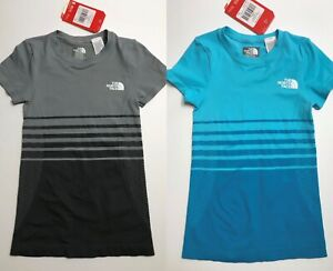 The North Face Girls' Round N Round Tee Shirt Grey Blue XS/S S/M L/XL $35