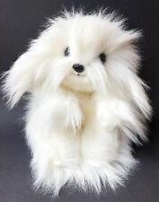 "Ty 1987 Classic Plush Max White Fluffy Dog Puppy 18"" Laying Flat Ground Nutshell"