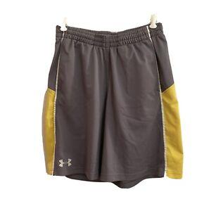 Under Armour Athletic Shorts Sz M Gray & Yellow Elastic Drawstring Waist Pockets