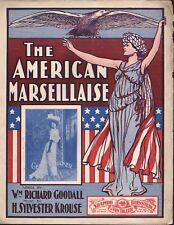 The AMERICAN MARSEILLAISE 1902 Patriotic Sheet Music CECIL SPOONER Cover!