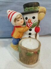 Vintage 1979 Jasco Luvkin Friends Building A Snowman Christmas Candle Holder