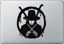 Apple MacBook Air Pro + V VENDETTA + Aufkleber Sticker Skin Decal Anonymous
