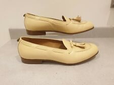 Authentic Men's Gucci Quentin Tassel Leather Loafers Pale Yellow Size UK 10