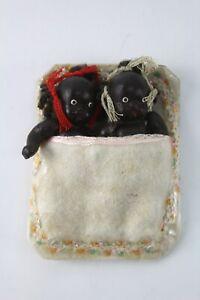 vintage antique japan Bisque Baby Boy Girl twins doll miniature native black