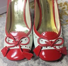 Marc Jacobs~Red~Ivory~Patent Leather~Block~Heels~Rounded toes~slingbacks~SZ 8M!