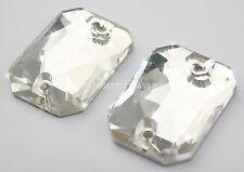 STRASS da Cucire Rettangolo ottagono 1pz 2 fori 18x25 Cristallo trasparente
