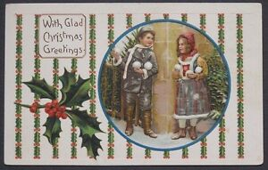 Cute Boy & Girl Ready for Snowball Fight Christmas Greetings postcard