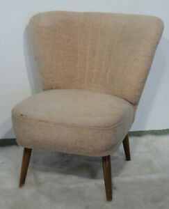 Cocktail Sessel  beiger Polstersessel Rockabilly vintage launch chair 60's