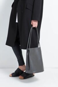 Oak And Fort Grey Leather Tote