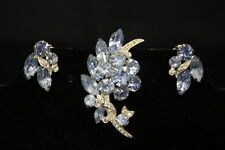 VINTAGE Signed EISENBERG ICE Blue Rhinestone Clip-On EARRINGS AND BROOCH PIN Set