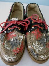 SPERRY TOP SIDER~FAUX FUR~SNOWFLAKE~SEQUIN~WOMEN'S SIZE 10~BOAT SHOES~FLATS