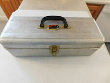 """Vintage Rare Liberty Steel Chest Fishing Tackle Box #A-275 Brass Latch 18"""" Wide"""