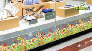 Floral Spring Border Static Cling Window Sticker - Double-Sided Print