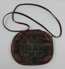 Sharif Leather WOVEN Purse Green Brown Small Handbag - Made In USA - Vintage