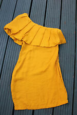 RIVER ISLAND ONE SLEEVE ONE SHOULDER  YELLOW FRILL DRESS FROCK SMART PROM