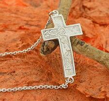 Side Cross Chain Bracelet -Sterling Silver- Detail Cross,Religious,1st Communion